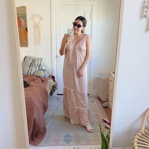 NWT! Lace Inset Tie-Shoulder Maxi Dress